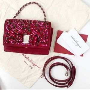 Ferragamo One of a Kind Red Crystal Chain Clutch